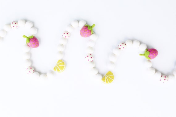 Strawberry Lemonade Garland | Felt Strawberries | Felt Lemons | Lemon Banner | Strawberry Banner | Felt Ball Garland | Pom Pom Garland