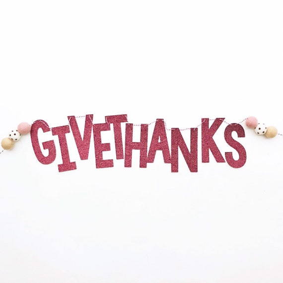 Give Thanks Banner | Thanksgiving Banner | Friendsgiving Decorations | Thankful Grateful Blessed | Happy Thanksgiving | Gather | Gobble