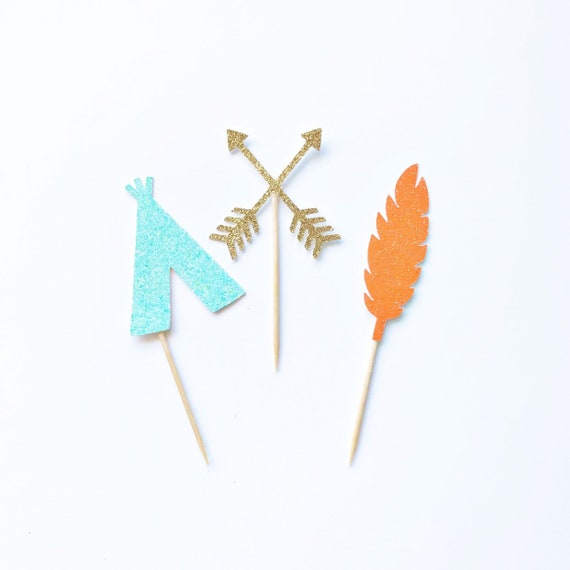 Wild One Cupcake Toppers / Boho Party / Feather Teepee Arrow Toppers / Tribal Cupcake Toppers / Two Wild / Wild & Three / Adventure Awaits