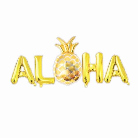 Gold Aloha Balloons with Pineapple | Summer Birthday Party | Luau | Hawaiian Themed Party | Aloha Beaches | Tropical Bachelorette Party