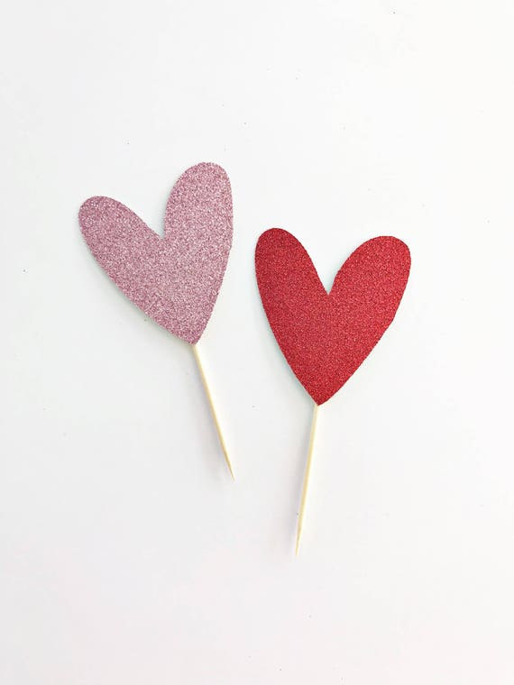 Giant Glitter Heart Cake Topper / Valentine's Day Cake Topper / Valentine's Day Decorations / Heart Cupcake Toppers / Be Mine / Vday Decor