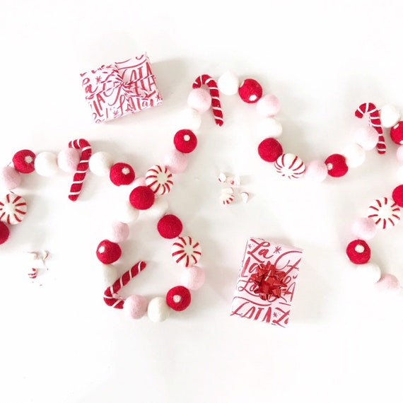 Pink and Red Christmas Felt Ball Garland
