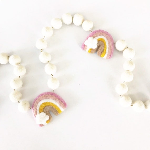 Felt Rainbow Garland | Rainbow Pom Pom Garland | Nursery Decor | Rainbow Decorations | Playroom Decor | Rainbow Banner | Felt Rainbow Cloud