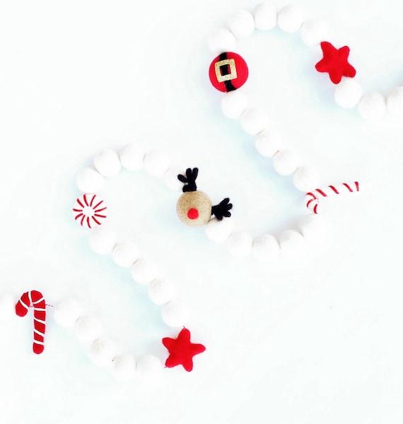 Christmas Felt Ball Garland | Christmas Garland | Christmas Decorations | Merry Christmas | Rudolph Garland | Reindeer Banner | Santa Claus