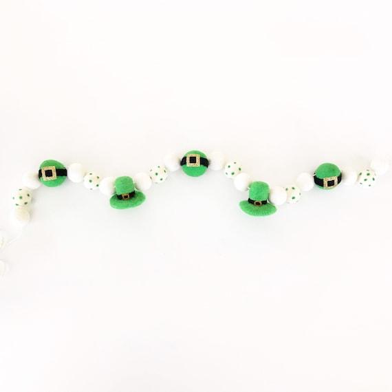 St Patrick's Day Felt Ball Garland | Leprechaun Hats & Belts | Felt Leprechaun Banner | Pom Pom Garland | St Patty's Day Decorations |