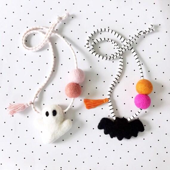 Felt Ghost Necklace | Felt Bat Necklace | Halloween Necklace | Felt Ball Necklace | Pom Pom Necklace | Woolie Ball Necklace | Hey Boo
