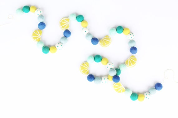 Lemonade Felt Ball Garland | Blue Lemon Garland | Lemonade Stand | Felt Ball Garland | Pom Pom Garland | Lemonade Banner | Freshly Squeezed