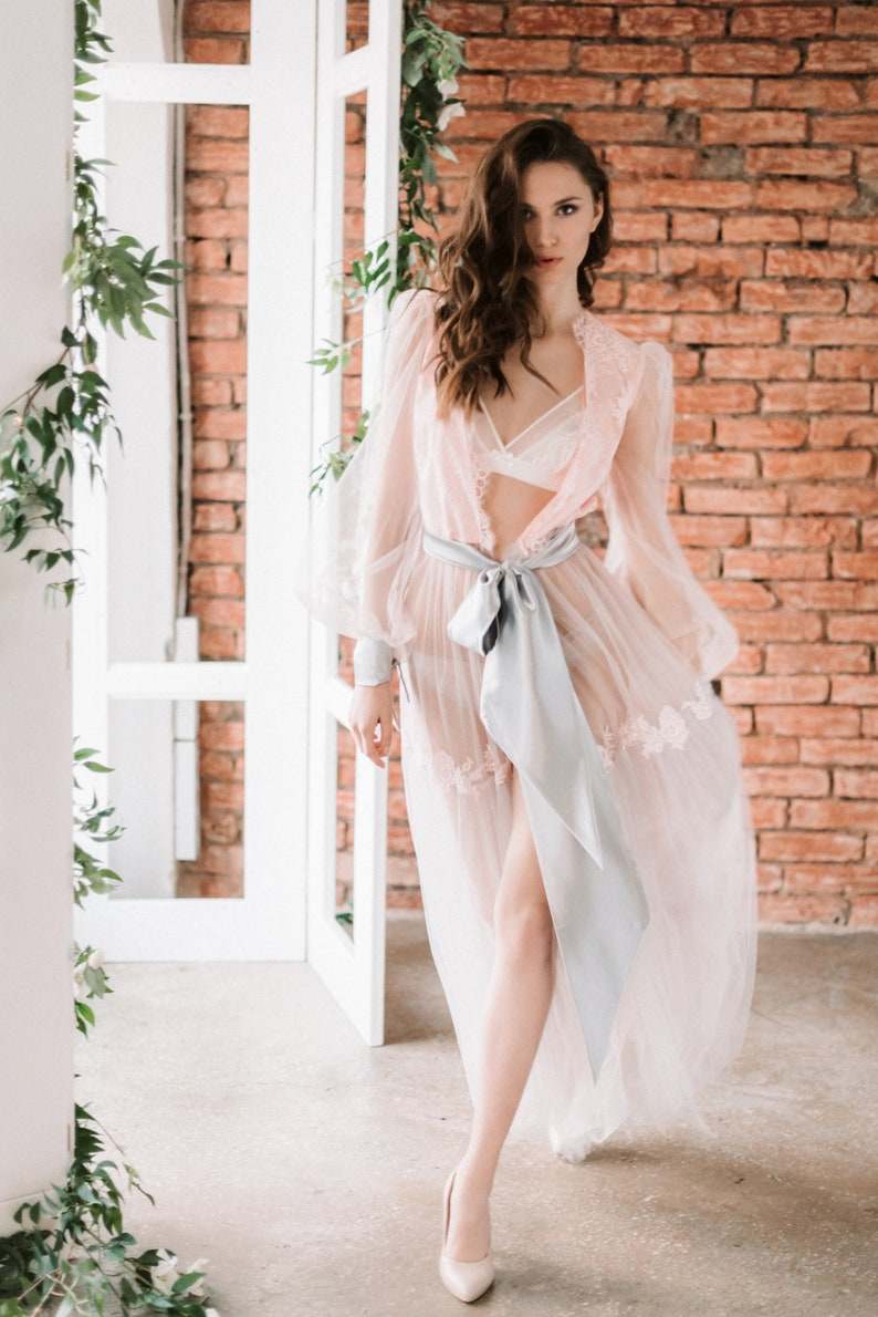 Long pink boudoir robe  Lace bridal robe  Gray tulle robe  Wedding Robe for bride Getting Ready Robe  Bridal Shower Gift