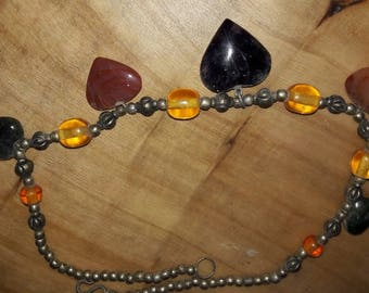 Vintage necklace made of Polished Agate stones and metal beads