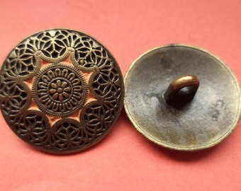8 metal buttons bronze 21 mm (5437) buttons metal knob