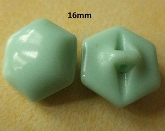 9 Glass Knobs Mint Green 16 mm (6020) buttons Glass Green