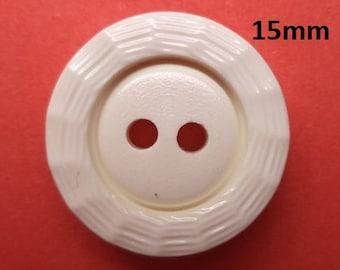 11 Buttons Cream White 15 mm (4539) White