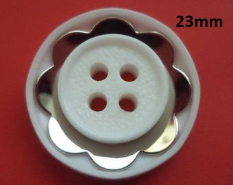 White Knobs 23 mm (4501) white silver jacket buttons