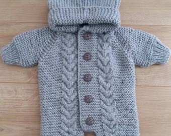 Grey knitted baby hooded suit