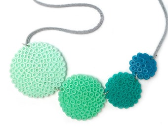 Mint circles necklace, handmade with fuse beads