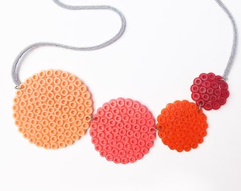 Coral circles necklace, handmade with fuse beads