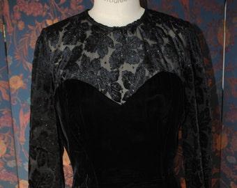 Evening dress down velvet black 1990