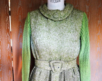 Dress in lime green tweed-1950