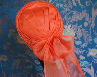 Hat Cap red chiffon / 1960