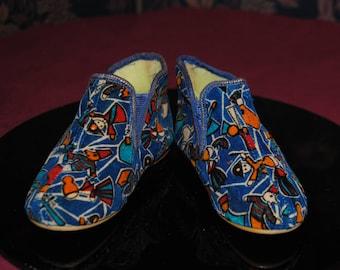 Kids slippers, little snowman print 1960 - T:23
