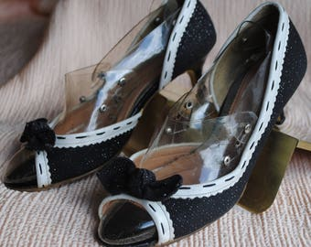Pumps open black and white (Vanity beauty) Made in Japan - size: 37.5
