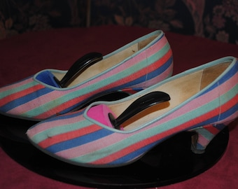 Ticking stripes 1980's pumps