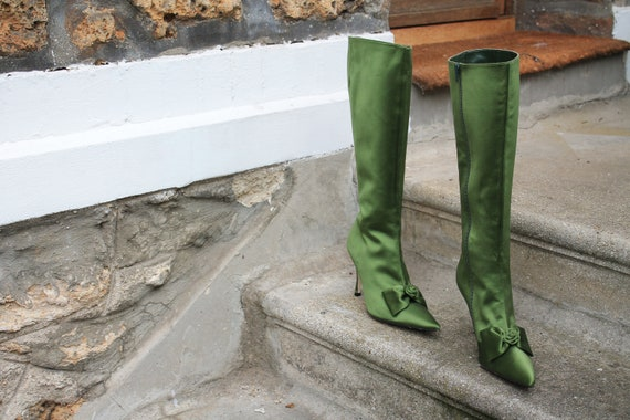Satin Green-T: 40.5 boots
