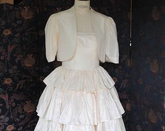 1980 white silk taffeta wedding dress