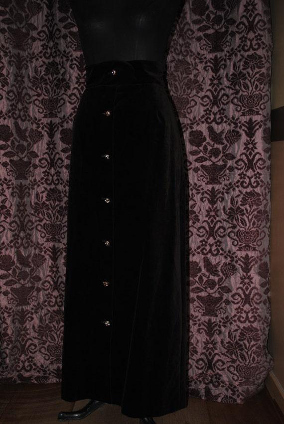 1980 Brown wool velvet long skirt