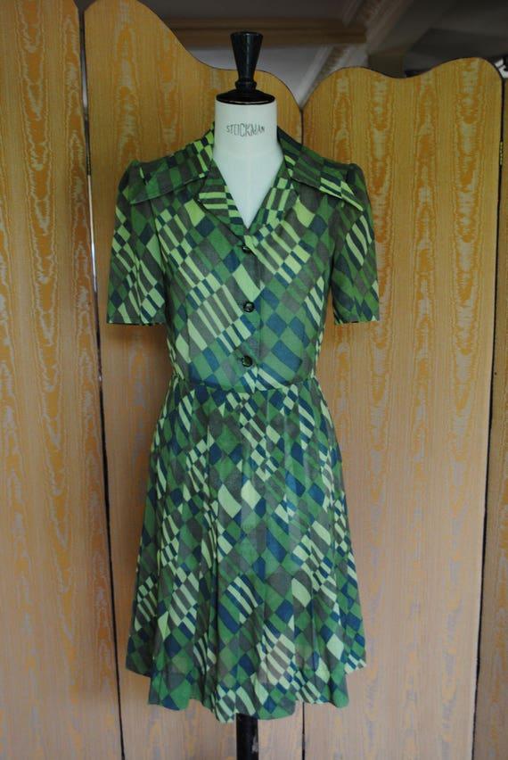 Dress in khaki cotton - 1970 - NET