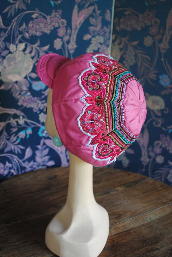 Cap embroidered pink silk Christian Lacroix