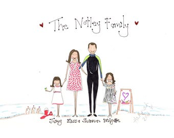 Custom Drawn Family Illustration (4 Character)