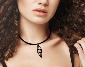 Pendant necklace Graphic, geometric, diamond, modern, contemporary, silicone