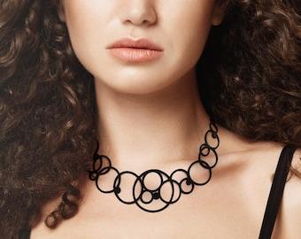Disco necklace, circle/round/bubble/geometric/graphic, fantasy, silicone