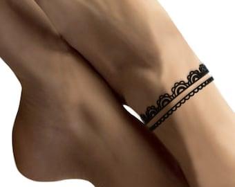 Lace ankle chain, lingerie/fin/feminine/graphic/romantic, fancy, silicone