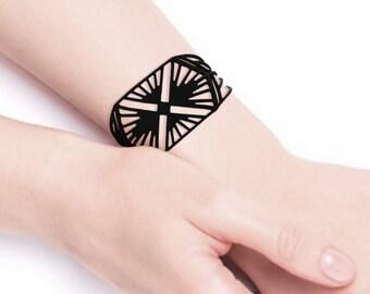 Charleston bracelet, art deco/graphic/geometric/style watch/cuff, fantasy, silicone