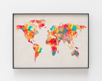 Watercolor world map etsy colorful world map world map watercolor watercolor world map world map kids canvas map of the world world map poster world map artwork gumiabroncs Choice Image