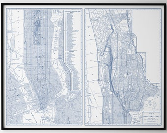 Road Map Of Manhattan.Nyc Map Etsy