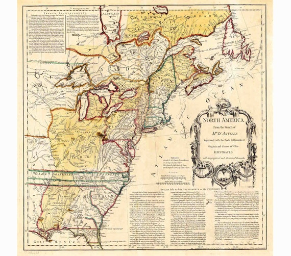 13 Colonies Map, Vintage US Map, Canvas Map, Old Wall Art, America Map,  Historical Map, Large Wall Maps, Kids Maps, Playroom Map, 110