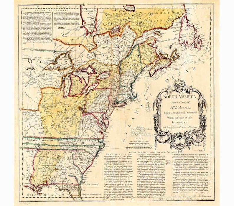 13 Colonies Map Vintage Us Map Canvas Map Old Wall Art Etsy - Us-map-with-13-colonies