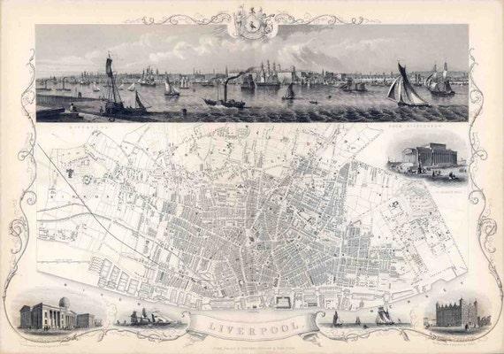 Map Of England Liverpool.Liverpool England Liverpool England Map Of England Map Of Etsy