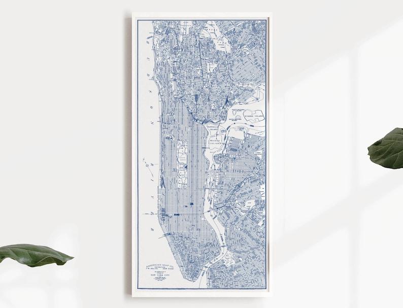 Manhattan Blueprint Map Manhattan Nyc Map New York City Etsy