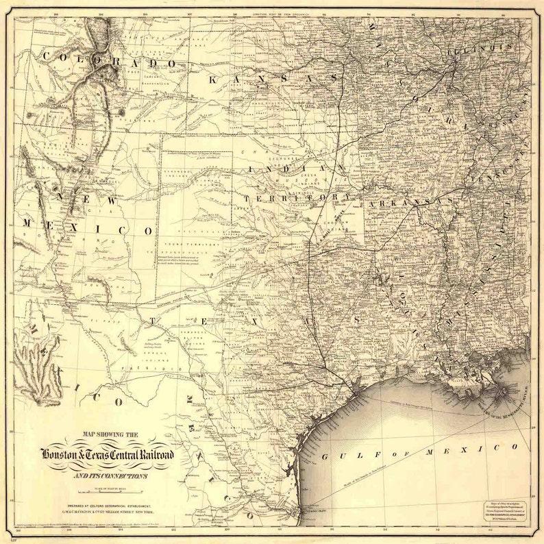 Railroad Map Of Texas.Texas American History Texas Map Map Of Texas Houston Etsy