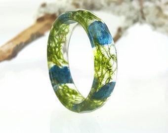 Anello in resina con fiore vero, anello fiore pressato, anello terrario, anello di muschio vero, anello di natura