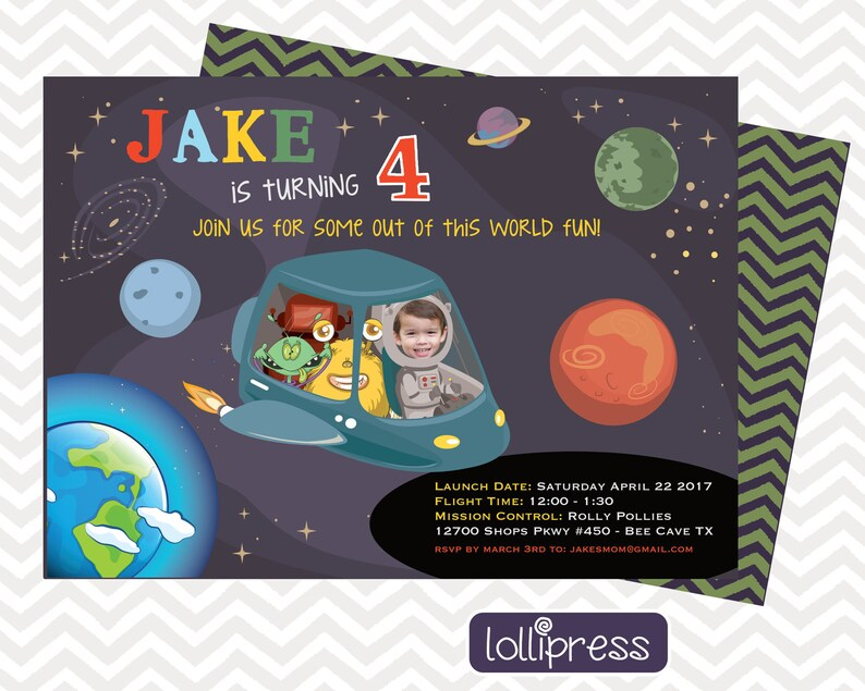 Outer Space Birthday Invitations Spaceship Party Photo Invitation Printed Invites
