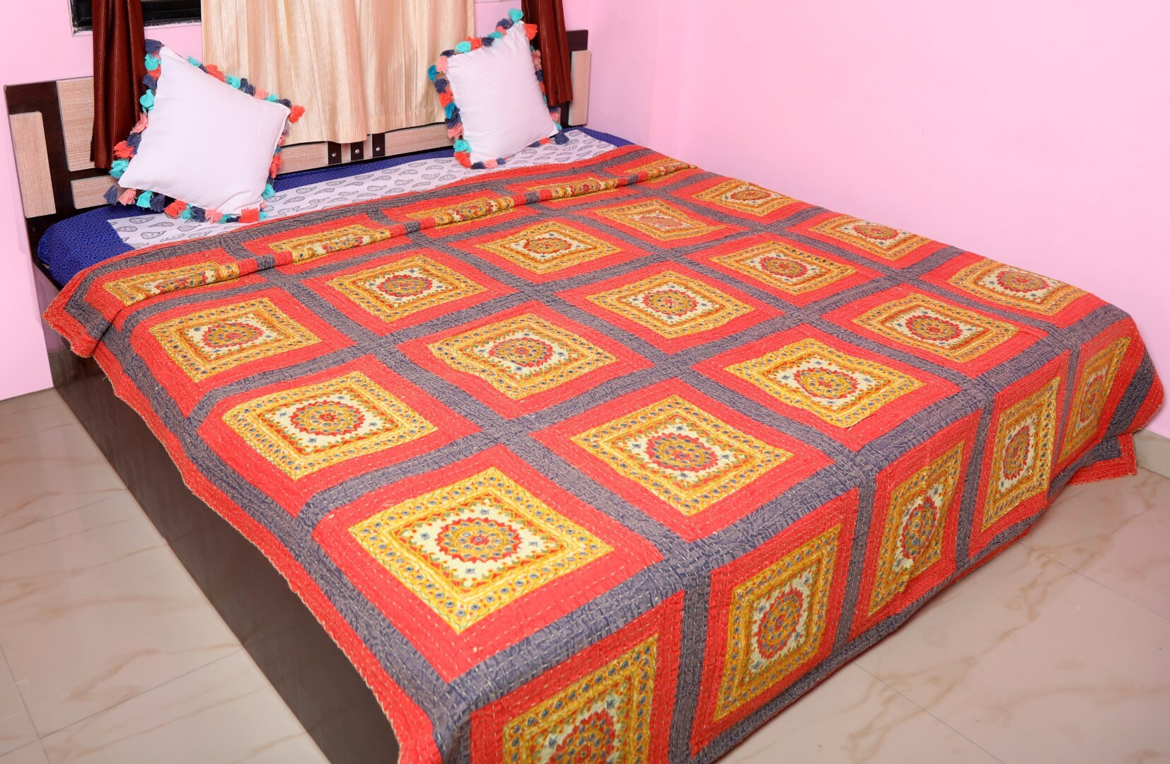 Ethnic Indian Mirror Kantha Main Brodé Bedspread Traditionnel Miroir Travail Tapisserie Cotton Quilt Coverlet Decorative Wall Hanging Throw