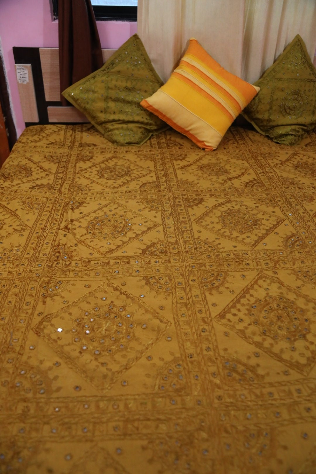 Khaki Ethnic Indian Mirror Hand Embroidered Bedspread Traditional Mirror Work Tapestry Cotton Quilt Coverlet Decorative Wall Hanging Throw