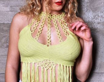 Burning Man crop top with fringe, Rave festival top, Festival boho dress, Crochet beach wear ready to ship  by Knittee