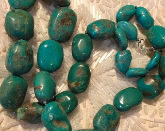 """Vintage 22"""" Hand Knotted Turquoise Necklace"""