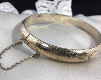 Vintage Sterling Silver Etched Bangle